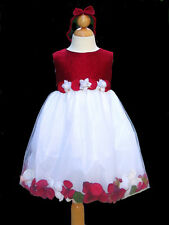 Toddler Girls Christmas Silk Petal Dress, Red/White Sz: 24 Month (18-24 Month)