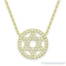 Star of David Magen Judaica Jewish Pendant 18k Gold 925 Sterling Silver Necklace