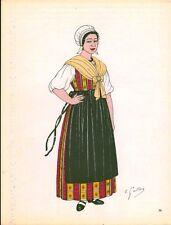 Gravure d'Emile Gallois costume des provinces françaises 1950 Ile-de-France