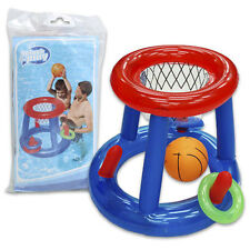 Floating Pool Game Play Set Center Shootball Basketball Hoop & Ring Toss GiftToy