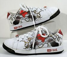 ECKO Red Fashion White Sneakers Leather Skater Shoes Hearts Rhinestone Women S 9