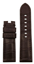 24mm XL Panatime Brown Genuine Alligator Watch Band w MS For Panerai Deploy