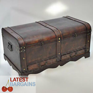 Wooden Storage Bench Blanket Box Treasure Chest Trunk Drawers Coffee Table