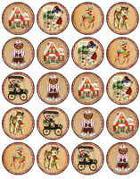 30 PRE-CUT EDIBLE WAFER CUP CAKE TOPPERS VINTAGE CHRISTMAS HOME SWEET HOME