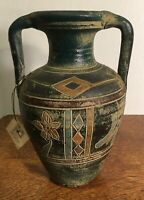 River Junction Pottery Two Handled Jug with Incised design