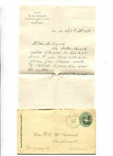 Cover & Letterhead 1889 ORD NEBRASKA fancy cancel HA BABCOCK VALLEY COUNTY CLERK