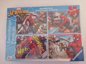New! Marvel Spiderman Bumper Puzzle Pack 4 x 100 Ravensburger plus x-men book
