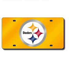 Pittsburgh Steelers Yellow Mirrored Laser Cut License Plate Laser Tag