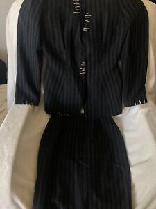 Thierry Mugler Skirt Suit sz 40 Striped Black & White