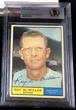 1961 TOPPS #465 ROY McMILLAN RARE BAS BECKETT SIGNED CARD AUTOGRAPHED AUTO !