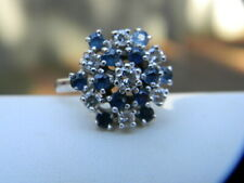 14 K WHITE GOLD BLUE SAPPHIRE CLUSTER DIAMOND COCKTAIL RING SIZE 6