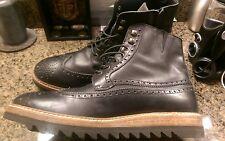 Men shoto camarra leather wingtip boots. Black size 13 $550 Italy