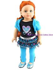 Tulle Hearts Dress & Leggings 18 in Doll Clothes Fits American Girl