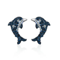 Women's Fashion 925 Sterling Silver Blue AAA CZ Cute Dolphin Ear Stud Earrings