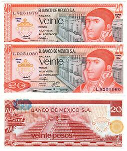 Mexico 20 Pesos P#64c(5) (1976) *2 Consecutive Banknotes* UNC