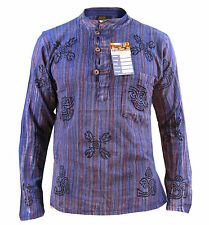 Men's Stonewashed Grandad Om Comfy Casual Long Sleeve Hippie Boho Shirts Tops