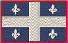 Quebec Canada Flag Embroidery Iron-On Patch  Emblem Red Border