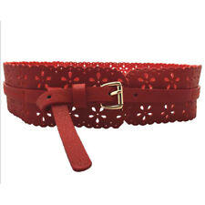 Wide Buckle Hollow Flower Waist Belt Waistband Synthetic Leather Xmas Gifts LD