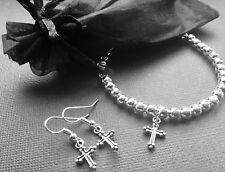 Bijoux Cross Crucifix Beaded Stretch Bracelet And Earrings Gift Set Religious