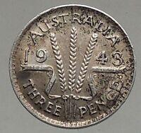 1943 AUSTRALIA - Threepence SILVER Coin - UK King George VI Wheat Stalks i56784