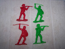 VINTAGE LOT OF 4 GREEN AND RED TIM-MEE TOYS 1330 COWBOY AND INDIAN FIGURES
