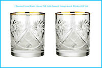 2 Russian Crystal Rocks Glasses 24K Gold Rimmed, Vintage Scotch Whiskey DOF Set