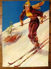 Gorgeous Authentic 1940s Irene Patten Print of Woman Skier Going Places