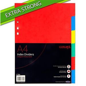 Extra Strong Index Subject Dividers - 6 Part