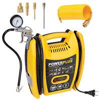 Powerplus Druckluft Kompressor 8 bar + Reifendruckpistole + Düsen + PU Schlauch
