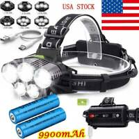 350000LM 5X T6 LED Headlamp Rechargeable Headlight 18650 Flashlight Head Torch