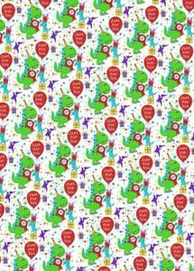 Children's Birthday Party Dinosaur Wrapping Paper - 1 Sheet & Matching Gift Tag