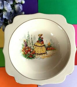 Art Deco / Vintage Falcon Ware Large Fruit Bowl, Crinoline Lady Display Bowl.