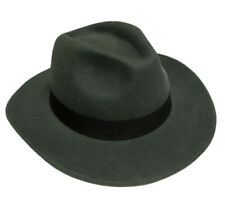 Grey Wool Felt Cowboy Fedora Trilby Hat Indiana Jones Style Wide Brim