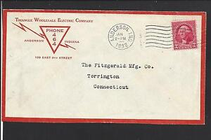 """ANDERSON,INDIANA COVER,1932. """"TRIANGLE WHOLESALE ELECTRIC CO.  PHONE 464""""."""