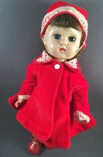 Vintage Ginny Doll Vogue Straight Leg Walker SLW Tagged Red Velvet Coat