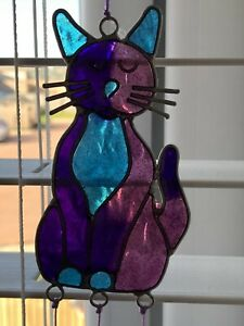 NEW Beautiful Stained Glass Cat Suncatcher.