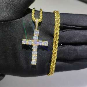 Hip Hop Shining Zircon Cross Pendant Necklace Religious Jewelry 18k Gold Plated
