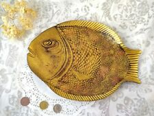 Vintage Faux Brass Gold Glass Fish Shaped Decor Trinket Plate Dish