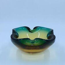 Murano Glass Bowl Ashtray Dish Mid Century Amber Turquoise Blue