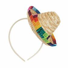 Sombrero Straw Mini On Headband, Hat, Mexican/Hen/Stag, Fancy Dress