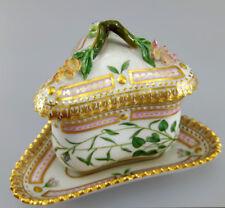 Royal Copenhagen Flora Danica triangular custard cup saucer & lid 3575 and 3576