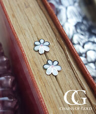 Fine 9ct White Gold Daisy Stud Earrings for Children & Babies
