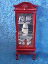 Miniature Dollhouse Mahogany Wood Mirrored Back Curio Cabinet Blue & White China