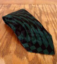 VINTAGE AÑOS 80 Valentino Rubí Verde Negro Geométrico HOMBRE 100% Corbata De