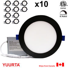 """YUURTA (10-pack) 6"""" 12W Dimmable Recessed Ceiling LED Downlight Pot Light Black"""