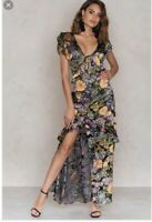 For Love And Lemons Luciana Maxi Dress Black Floral Burnout Free People