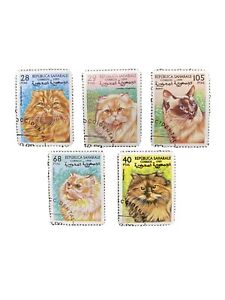 Mint Spanish Sahara Set Of 5 Domestic Cat Postage Stamps Collection Lot 1999