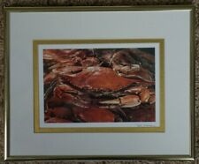 M.E. Warren, color photographic print blue crab, signed, framed, matted 10x8.5