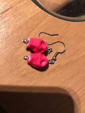 Orecchini a Forma di Teschio Rosa Neon
