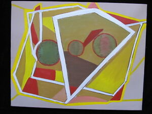 LISTED ARTIST painting ABSTRACT modernist fine art Dr. BENJAMIN L. Gross VINTAGE